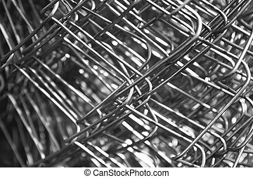 metal mesh wire closeup black and white
