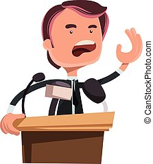 Politician giving speech vector illustration cartoon...