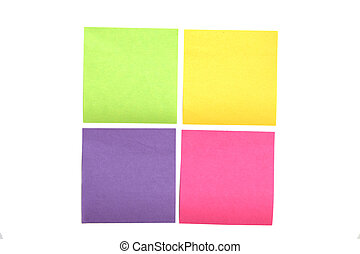 Four multi colored post it notes spaced evenly