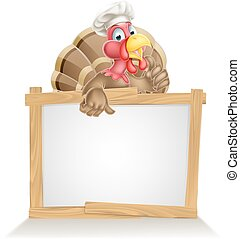 Chef Hat Turkey Sign - Thanksgiving or Christmas sign with...