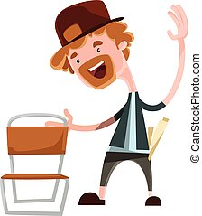 Happy man grabing chair vector illustration cartoon...