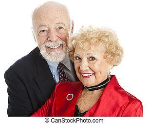 Senior Couple Closeup Portrait - Closeup portrait of a...
