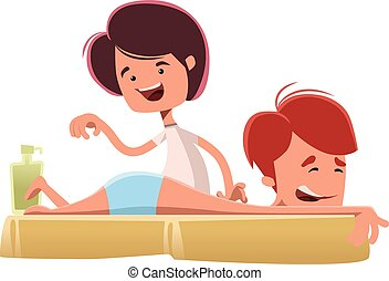 Man enjoying a massage treatmant vector illustration cartoon...