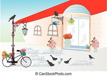 Florist in the alley, - composition showing the building...