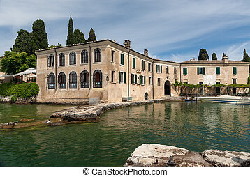 Beautiful old villa of Lake Garda in Italy. Sunny day