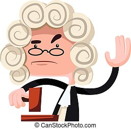 Judge making a verdict vector illustration cartoon character