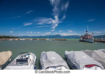 harbor, Lake Garda - Panorama of the harbor, Lake Garda,...