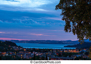 sunset over the lake Garda - Blue sunset over the lake...