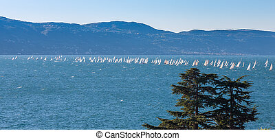 Sail boat on a lake with mountains as background - Sail boat...