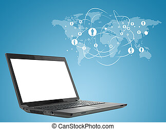 Laptop on abstract blue background with map - Laptop on...