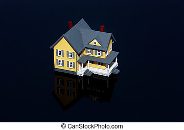 Miniature house isolated on black background with reflection