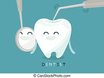 Dental mirror and probe on white for tooth