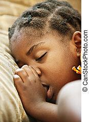 africano, niño, sueño