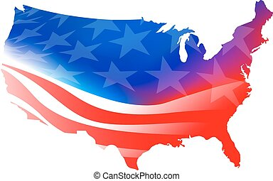 American map flag on a white background
