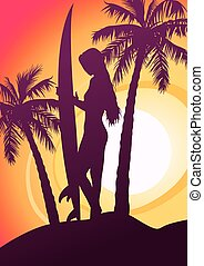 Surfing girl with surfboard and palm trees