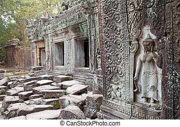 Preah Khan - Architecture details at the Preah Khan temple...