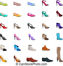Women s fashion collection of shoes Set with different shoes...