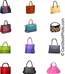 Women s fashion collection of bags Set with different bags...