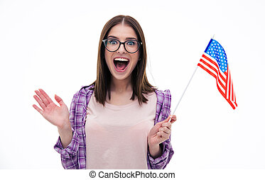 Surprised young woman with US flag - Surprised young woman...