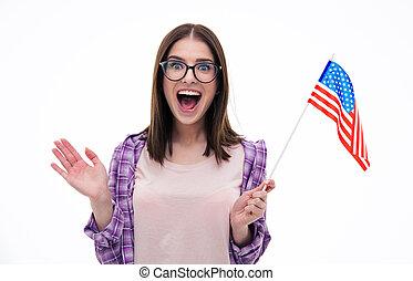 sorprendido, joven, mujer, con, nosotros, bandera,