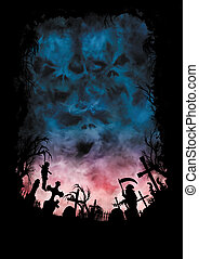 Horror background with skies like a skulls and a cemetery -...