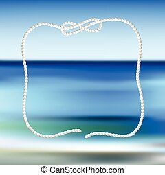 White rope frame on a blue sea blurred background Vector...