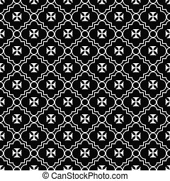 Black and White Maltese Cross Symbol Tile Pattern Repeat...