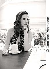 stylish Diva brunette - Young beautiful caucasian woman...