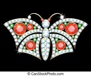 Butterfly brooch - Gold brooch butterfly with diamonds,...