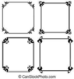 Set of frames - Set of black frame isolated on white
