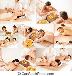 happy family couple in spa salon - health and beauty, resort...