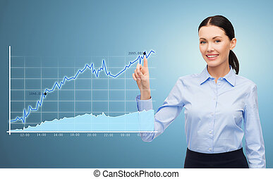 businesswoman pointing finger to chart - business,...