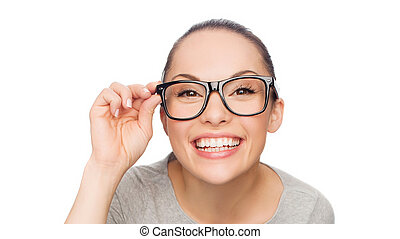 asian woman adjusting eyeglasses - happiness, health and...