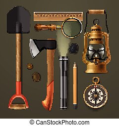 Set of camping hiking equipment, vector illustration