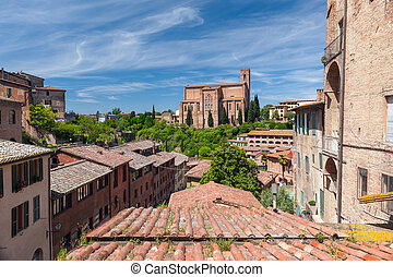 Panoramic view from the roof of town, Lake Garda, Italy