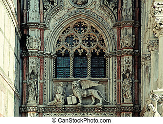 Details of the Basilica on Piazza San Marco, Venice, Italy -...