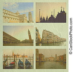 Collage of Italy famous place, in vintage tone on cement...