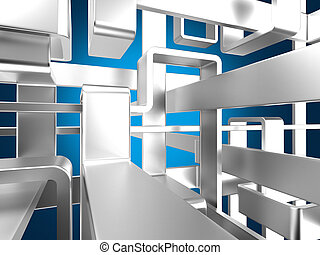 metallic abstract maze background - threedimensional endless...