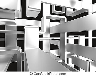 metallic abstract maze background - threedimensional endless...
