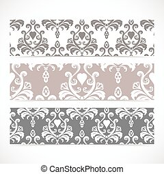 Collection gorizontal banners in the style of Baroque ....