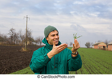 Peasant with seedlings - Young attractive peasant monitoring...