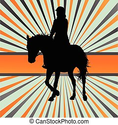 Horse riding vector background freedom concept