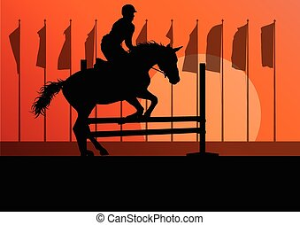 Horse jumping, overcoming obstacles, equestrian sport show...