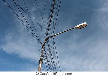 Street Light against the blue sky  in Albanian city Shkodra