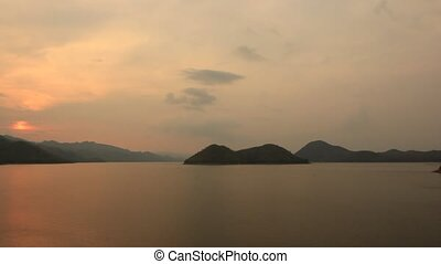 Sunset Sirnakarin dam kanchanaburi Thailand Travel of City