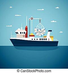 vector, concepto, de, río, Océano, y, mar,...