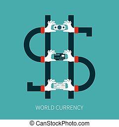 World currency vector concept in flat style
