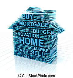 Real estate concept - 3d render of a house formed by words...