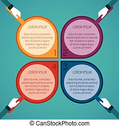 Abstract vector 4 steps infographic template in flat style for layout workflow scheme, numbered options, chart or diagram