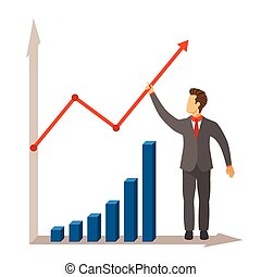 Business activity growth and success vector concept in modern flat style